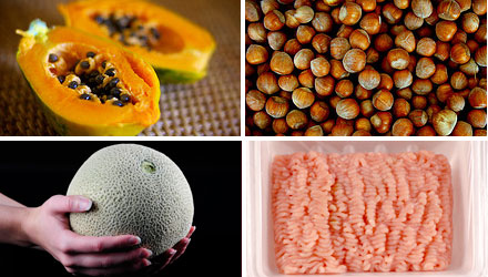 outbreaks in 2011 caused by papaya, hazel nuts, ground turkey and cantaloupe.